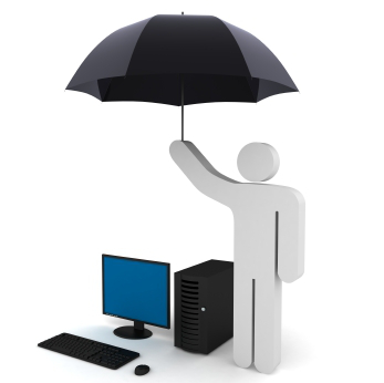 3D Man Symbol Holding Umbrella Over Computer