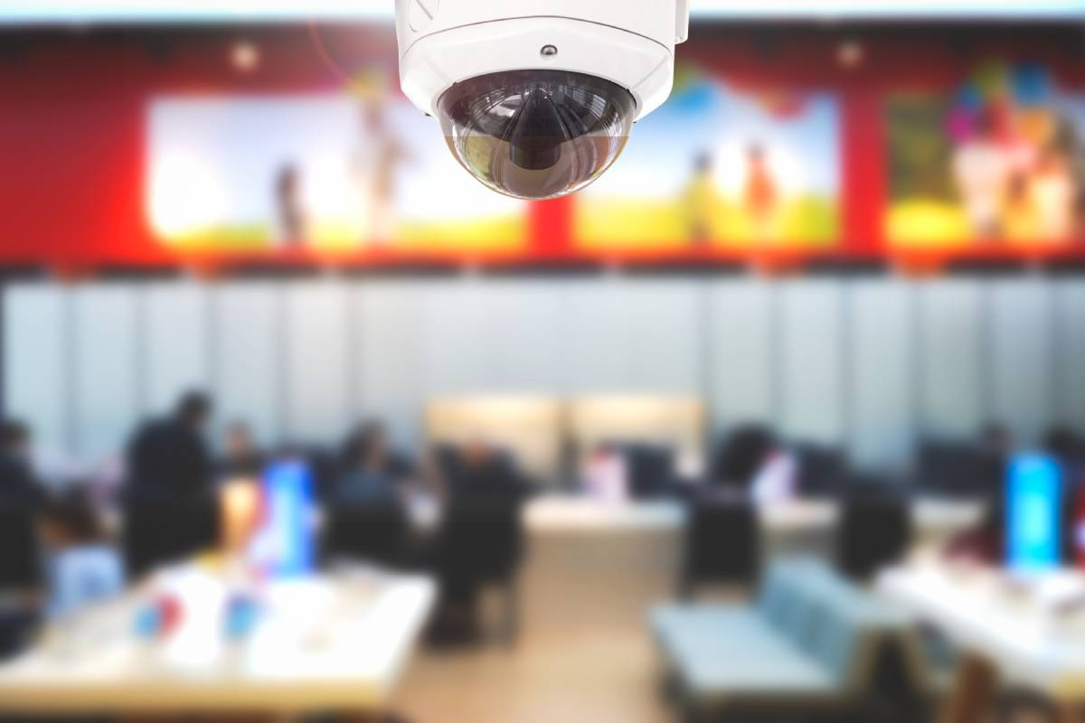 Security camera in a business with a blur effect on the background